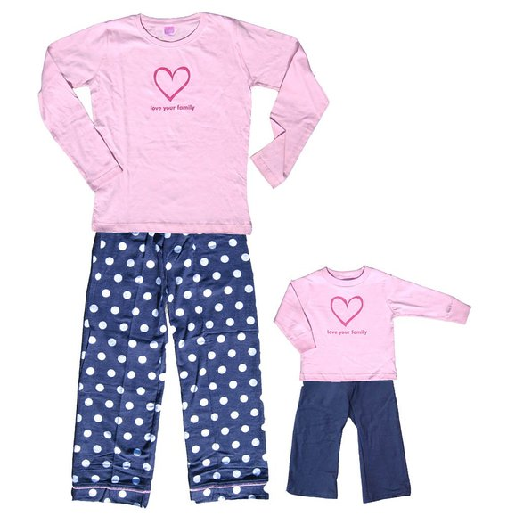 Pink Sweet Snuggles Love Your Family Heart Jammies