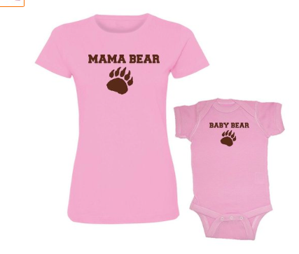 We Match! Mama & Baby Bear Women's T-Shirt & Baby Bodysuit Set Pink