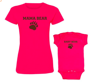 We Match! Mama & Baby Bear Women's T-Shirt & Baby Bodysuit Set
