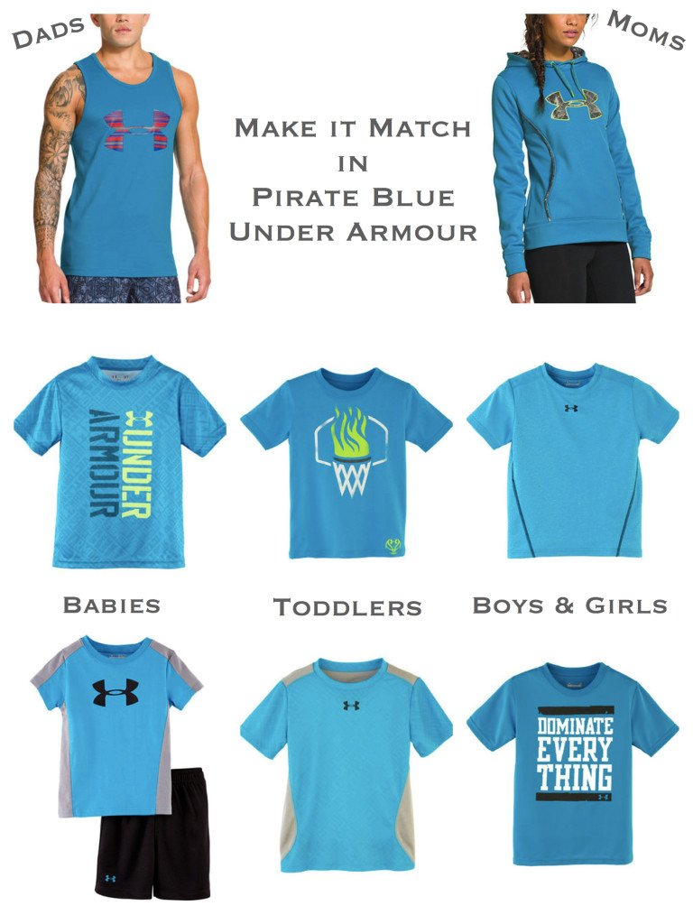 Matching Under Armour Sportswear for the Whole Family in Pirate Blue