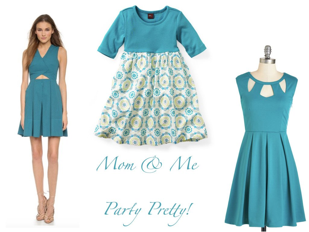 Mommy and Me Party Dresses in Turquoise