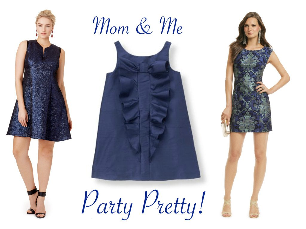 Mother Daughter Special Occasion Dresses in Navy Blue