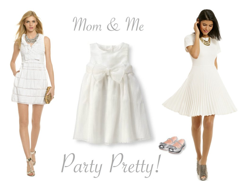Mother and Daughter Special Occasion Dresses in White
