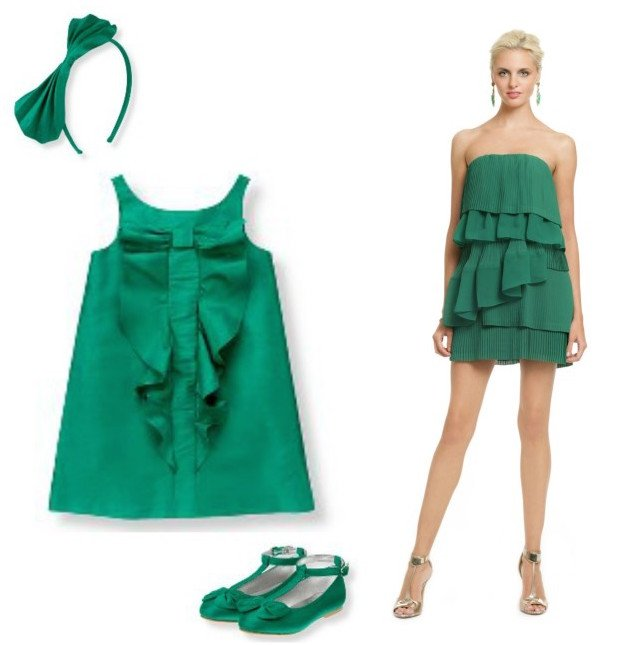 Mother Baby Girl Matching Emerald Green Special Occasion Dresses