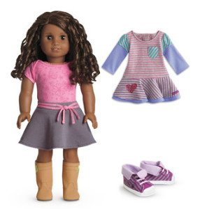 American Girl Dark Skin Curly Brown Hair Brown Eye 18 Doll with Striped Dress Outfit Set