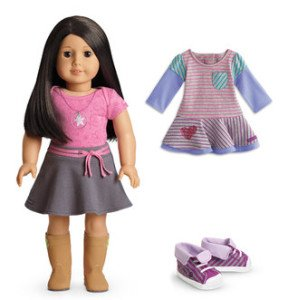 American Girl Light Skin Black-Brown Hair Brown Eye 18 Doll with Striped Dress Outfit Set