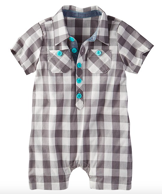 Baby's Grey and White Check Romper, Mom and Me Checking In for Spring!