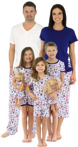 Family Matching Nautical Cotton Pajamas, Matching Family Summer & Spring Pajama Collection