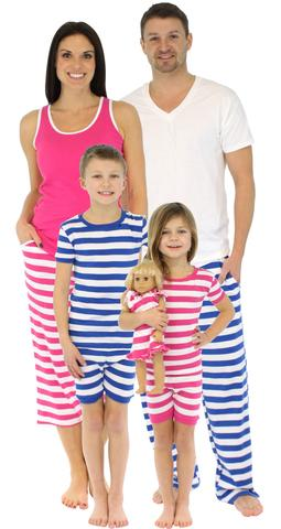 Family Matching Stripes Cotton Pajamas, Matching Family Summer & Spring Pajama Collection