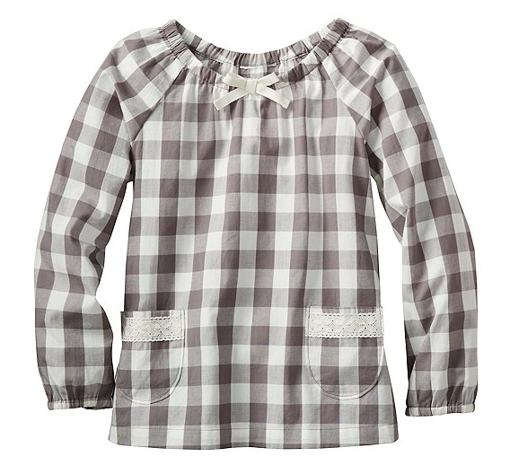 Girls Grey and White Checked Picnic Popover Top, Mom and Me Checking In for Spring!