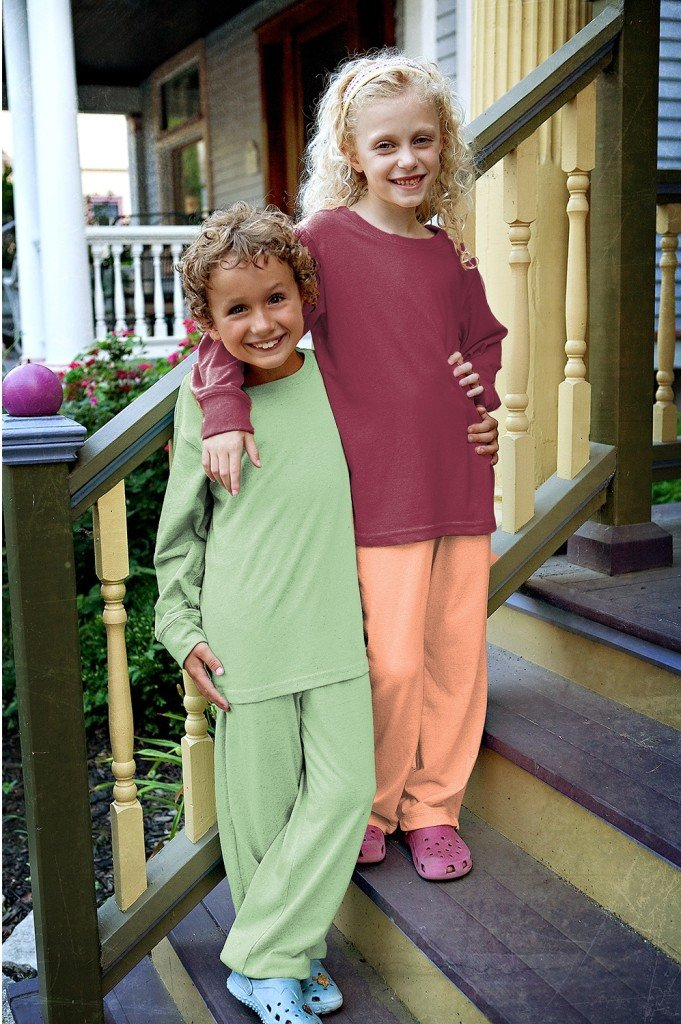 Kids 100 Recycled Fiber Longsleeve Tee in Pistachio, Matching Family Recycled Fiber Fleece Outfits