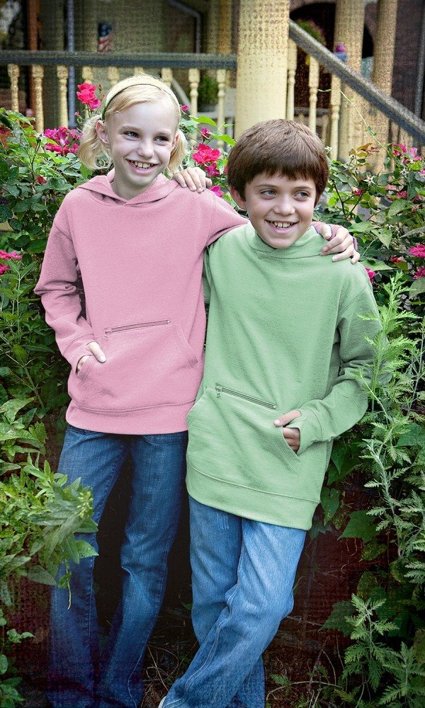 Kids 100 Recycled Fiber Pullover Hoodie in Pistachio, Matching Family Recycled Fiber Fleece Outfits