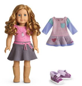 Light Skin Curly Red Hair Blue Eye American Girl Doll with Striped Dress Outfit Set