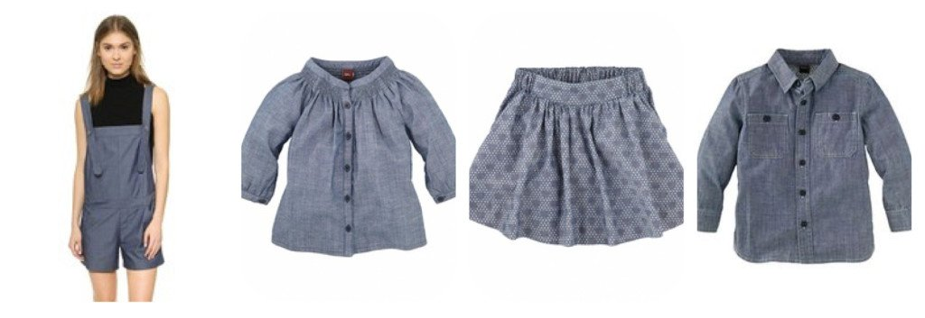 Matching Mommy and Me Medium Blue Chambray Outfits