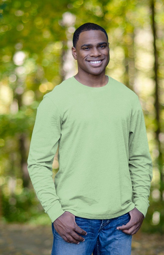 Men's 100 Recycled Fiber Tee in Pistachio, Matching Family Recycled Fiber Fleece Outfits
