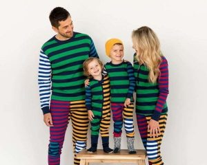 Navy Mixed Stripes Matching Pajamas