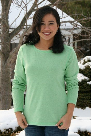 Women's 100 Recycled Fiber Longsleeve Top in Pistachio, Matching Family Recycled Fiber Fleece Outfits