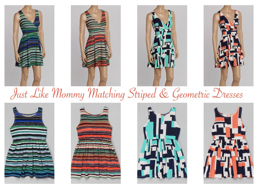Mother Daughter Matching Striped & Geometric Dresses