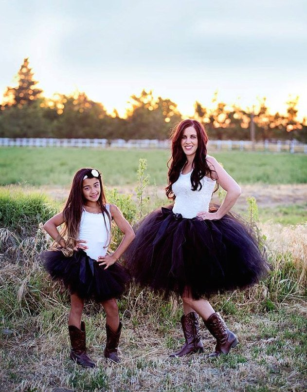 Mommy and Me Matching Black Tutu Set, Mother Daughter Matching Tutus