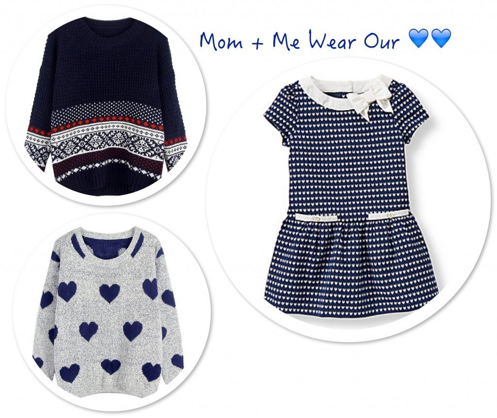 Matching Mother Daughter Valentines Day Hearts in Navy Blue