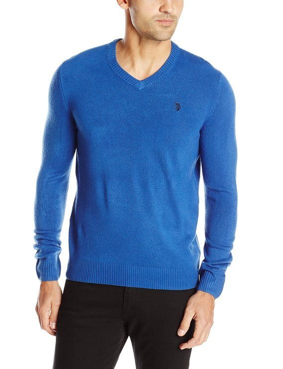 Mens V-Neck Blue Sweater