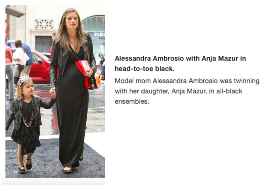 Celebrity Mother Daughter Matching Outfits_Allessandra Ambrosia_Anja Mazur