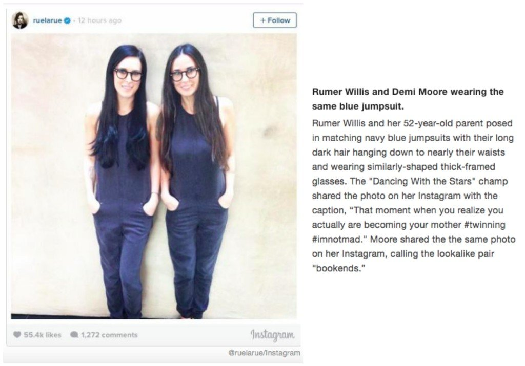 Celebrity Mother Daughter Matching Outfits_Rumer Willis_Demi Moore
