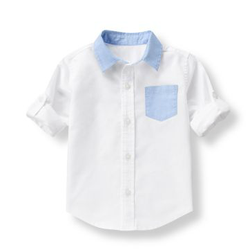 White and Blue Trimmed Colorblock Oxford Shirt