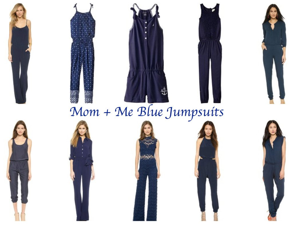 mother daughter blue jumpsuits