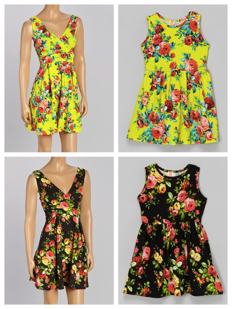 mother daughter matching floral print dresses