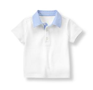 white pique polo with light blue woven collar trim
