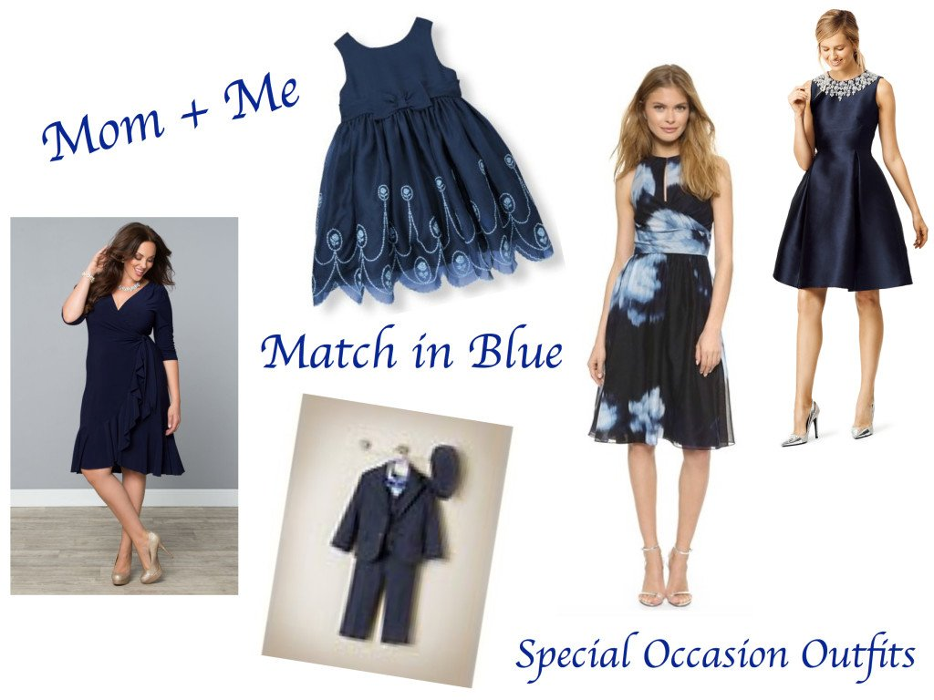Mommy Me Matching Blue Special Occasion Outfits