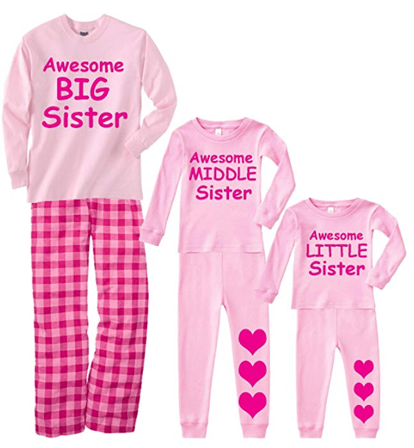 Big Sister Middle Sister Little Sister Matching Pajamas