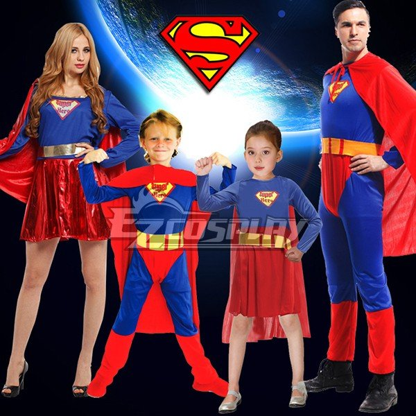 Super Man, Super Girl, Super Woman, & Super Boy Cosplay Costume
