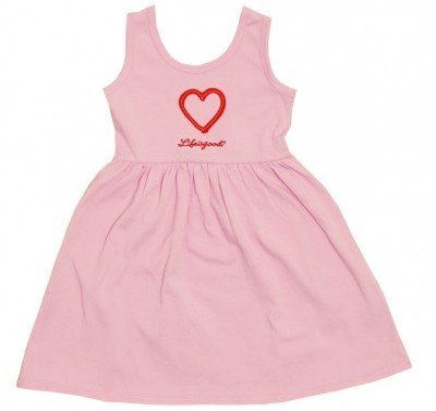 Life is Good Girls Pink Sleeveless Sleep Dress with Red Heart