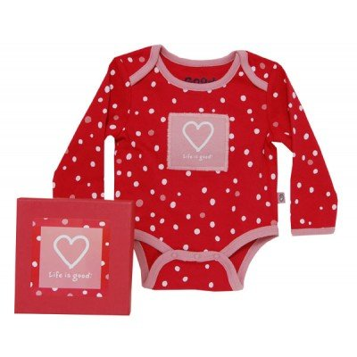 Life is Good Red Baby Longsleeve Onesie with Pink Heart