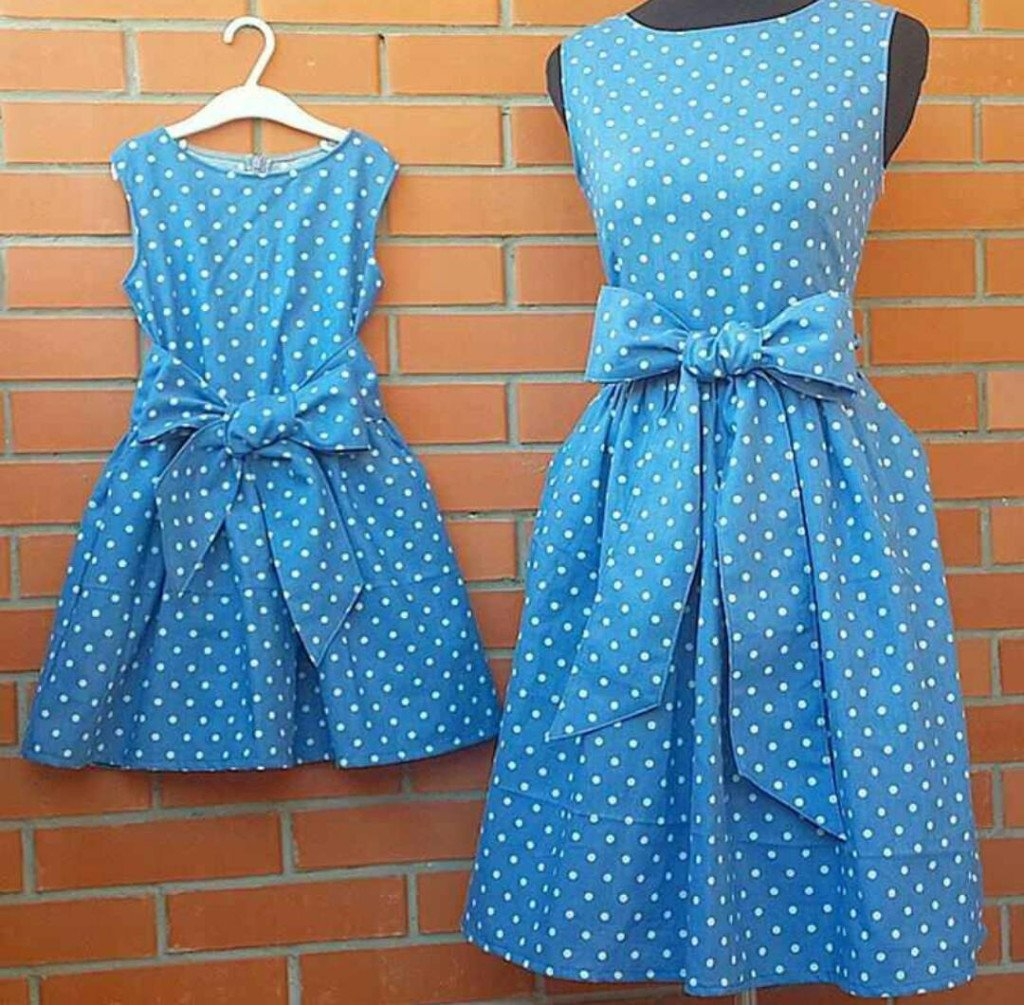 Matching Mother Daughter Dresses Blue with Dots
