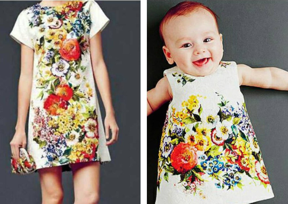 Matching Mother Daughter Bright Floral Dresses