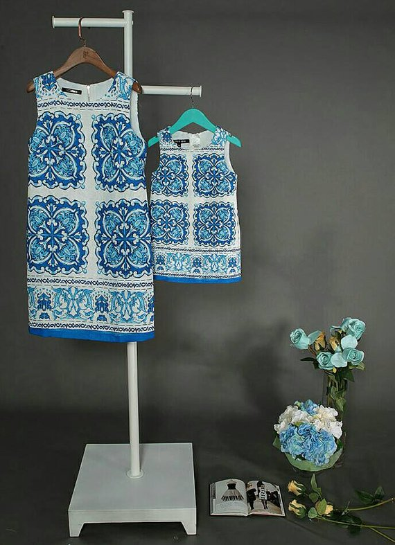 Matching mother daughter dresses blue, Custom Mother Daughter Matching Dresses