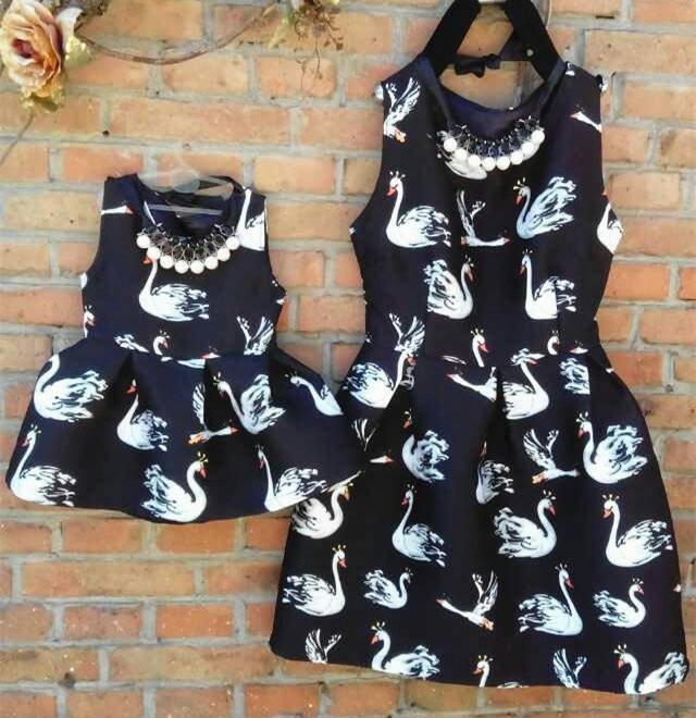Mother Daughter Matching Swan Dresses