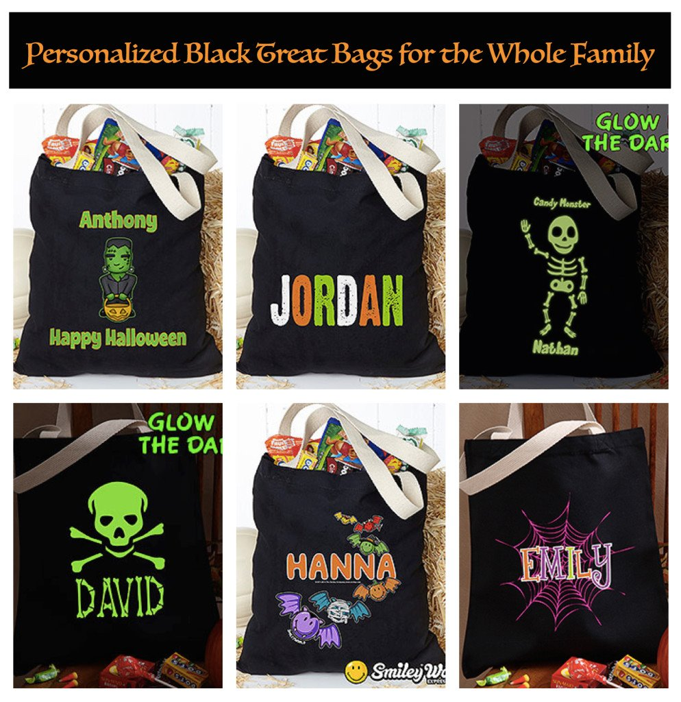 Personalized Black Halloween Treat Bags for the Whole Family