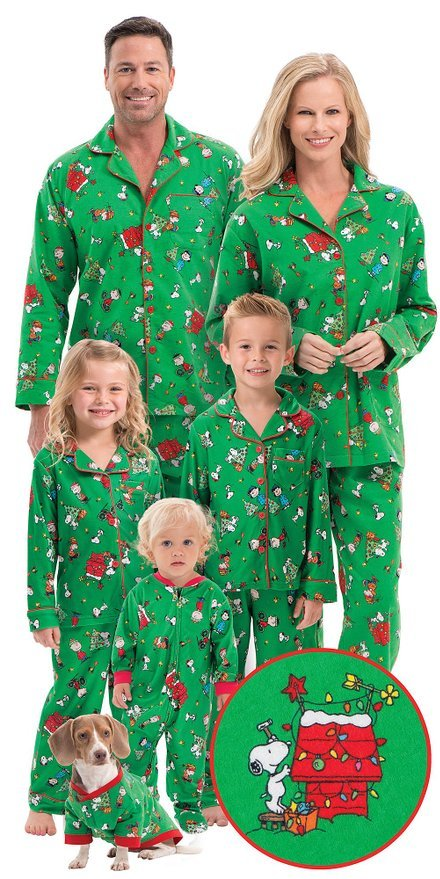 673e61548a Charlie Brown Family Matching Christmas Pajamas Classic Holiday ...