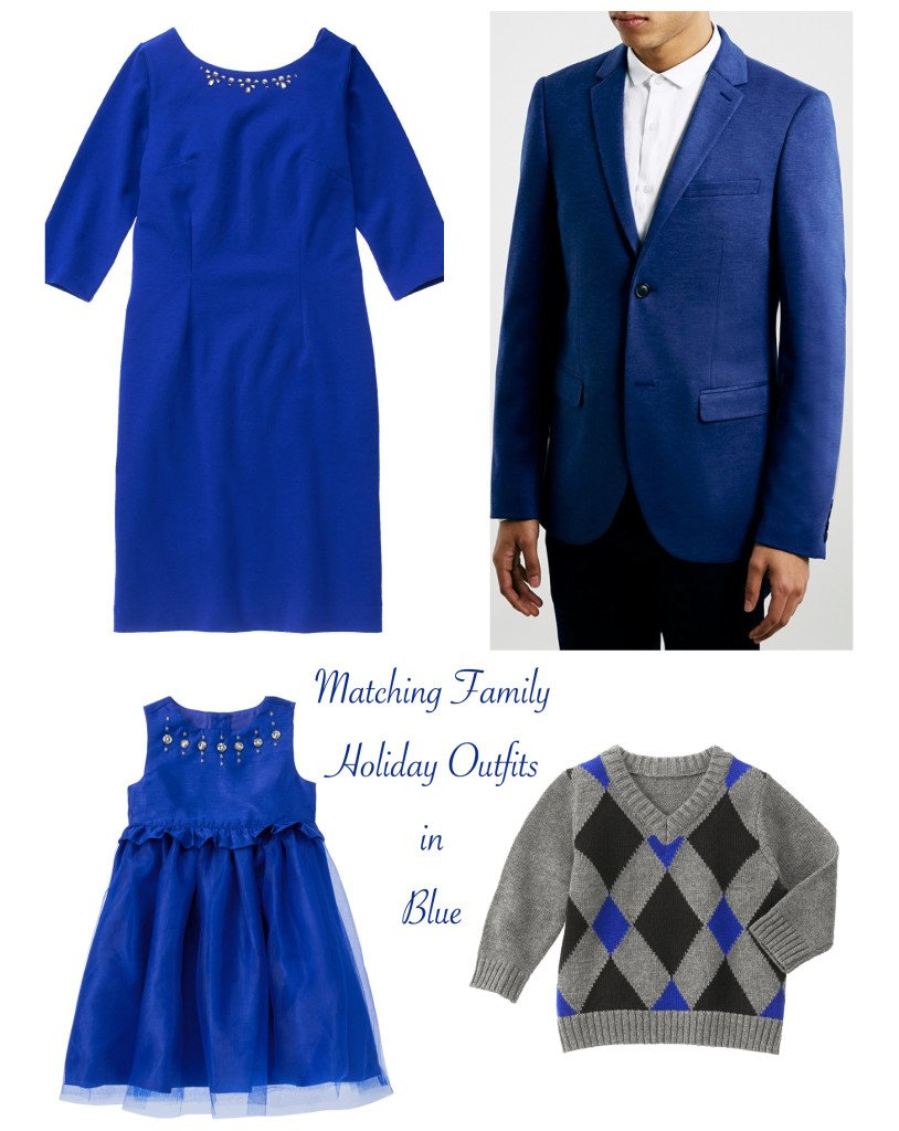 Matching Family Holiday Outfits in Blue