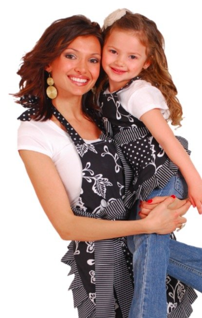 Mother Daughter Matching Sassy Black Flirty Aprons, Mother Daughter Kitchen Fun