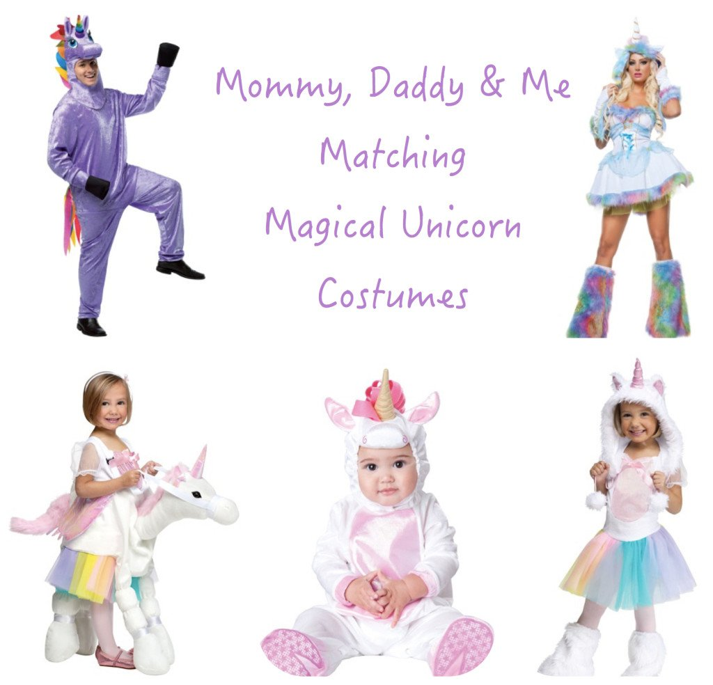 Mommy Daddy & Me Matching Magical Unicorn Costumes