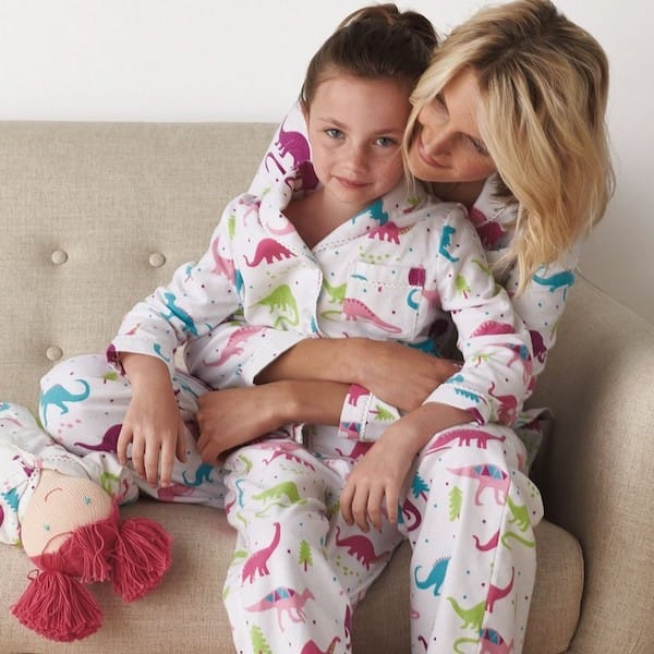 Matching Mother Daughter and Doll Flannel Dinosaur Pajamas