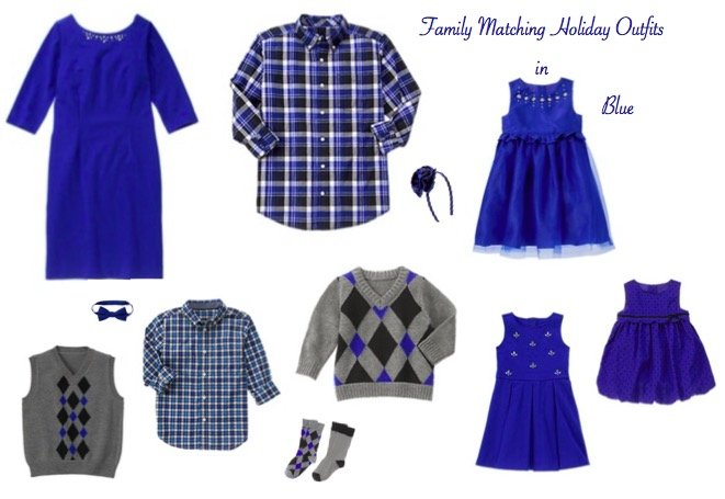 Family Matching Holiday Outfits in Blue