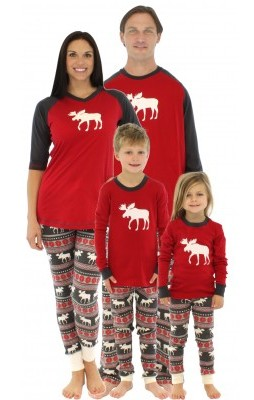50d6863318f7 Family Matching Holiday Red Stretch Pajamas Family Matching Moose Fair Isle  Pajamas