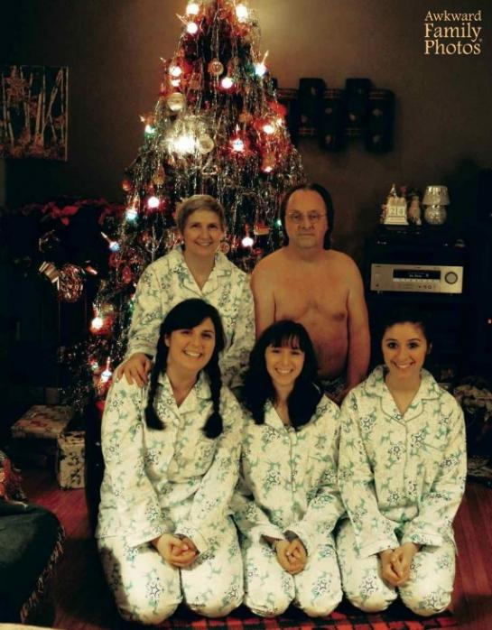 Awkward Family Photos Matching Family Pajamas