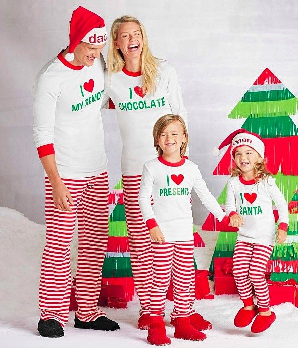 d439dbeeb1 Family Matching Holiday Personalized I Heart Santa Pajamas